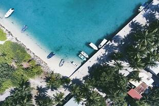 Ile Maldives vu du ciel durant notre voyage au Sri Lanka et Maldives